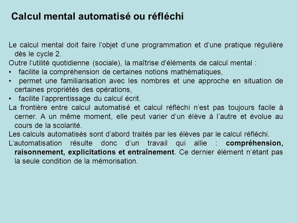 Calcul mental automatisé ou réfléchi