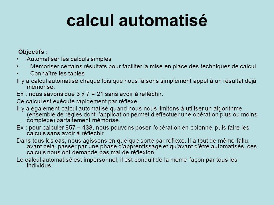 calcul automatisé Objectifs : Automatiser les calculs simples
