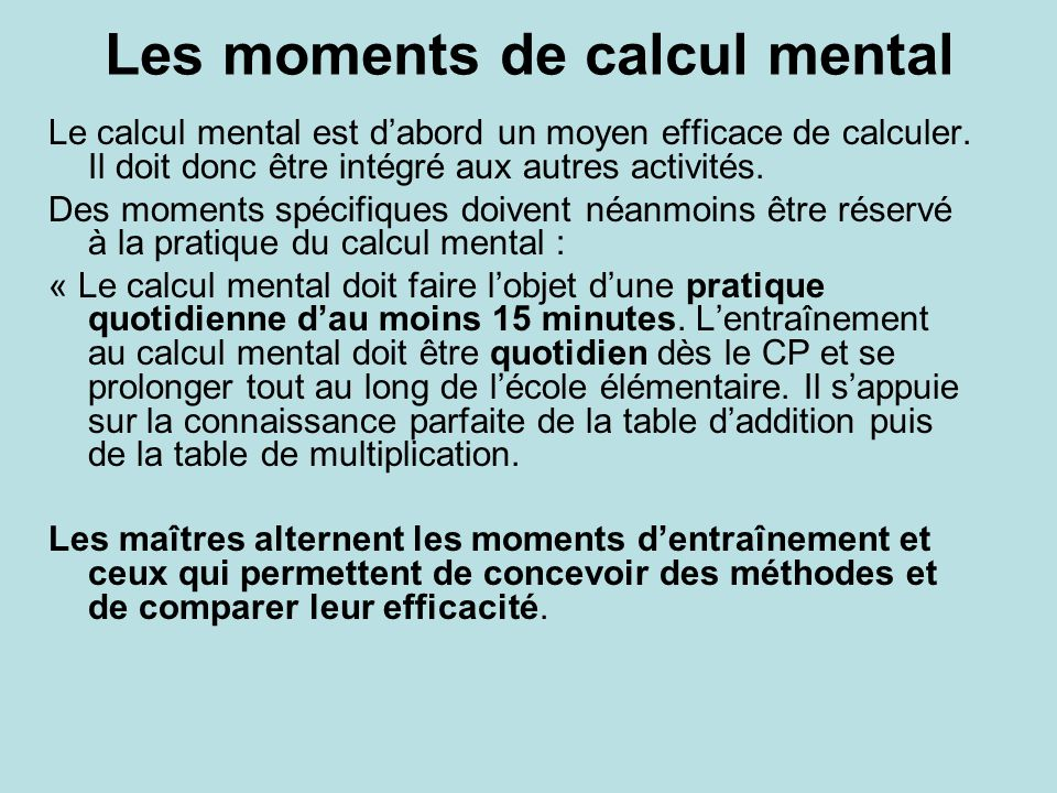 Les moments de calcul mental