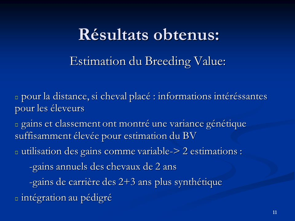 Estimation du Breeding Value: