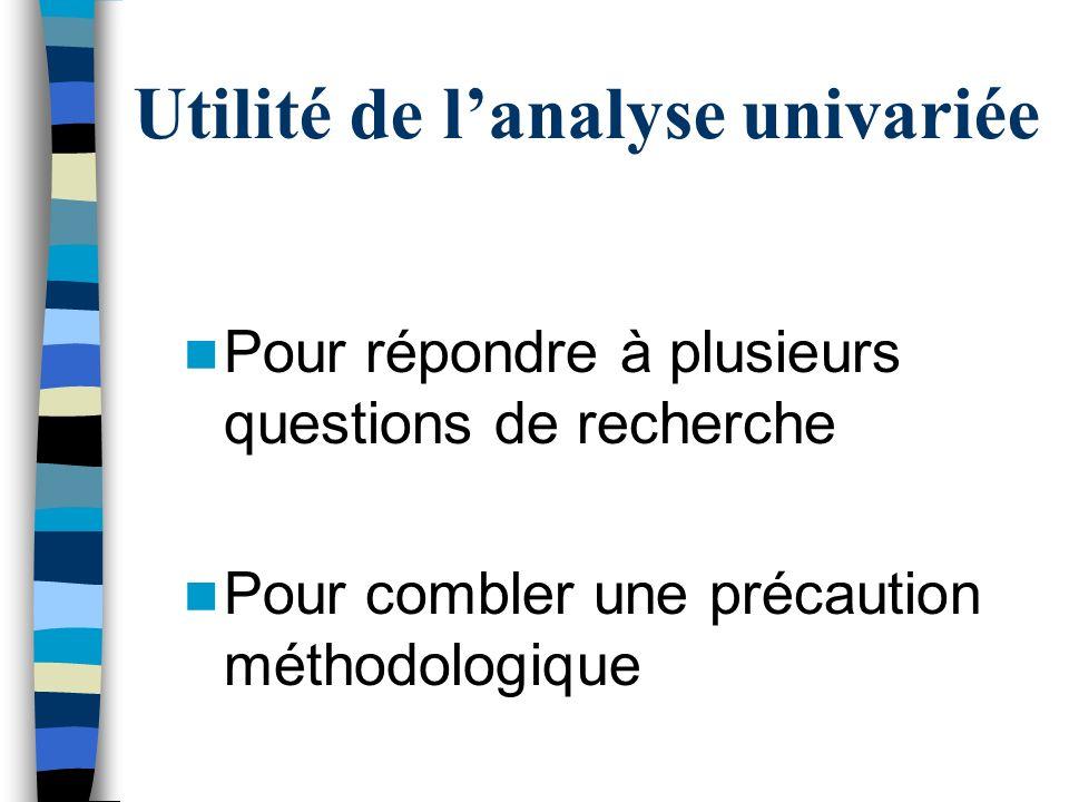 Utilité de l'analyse univariée