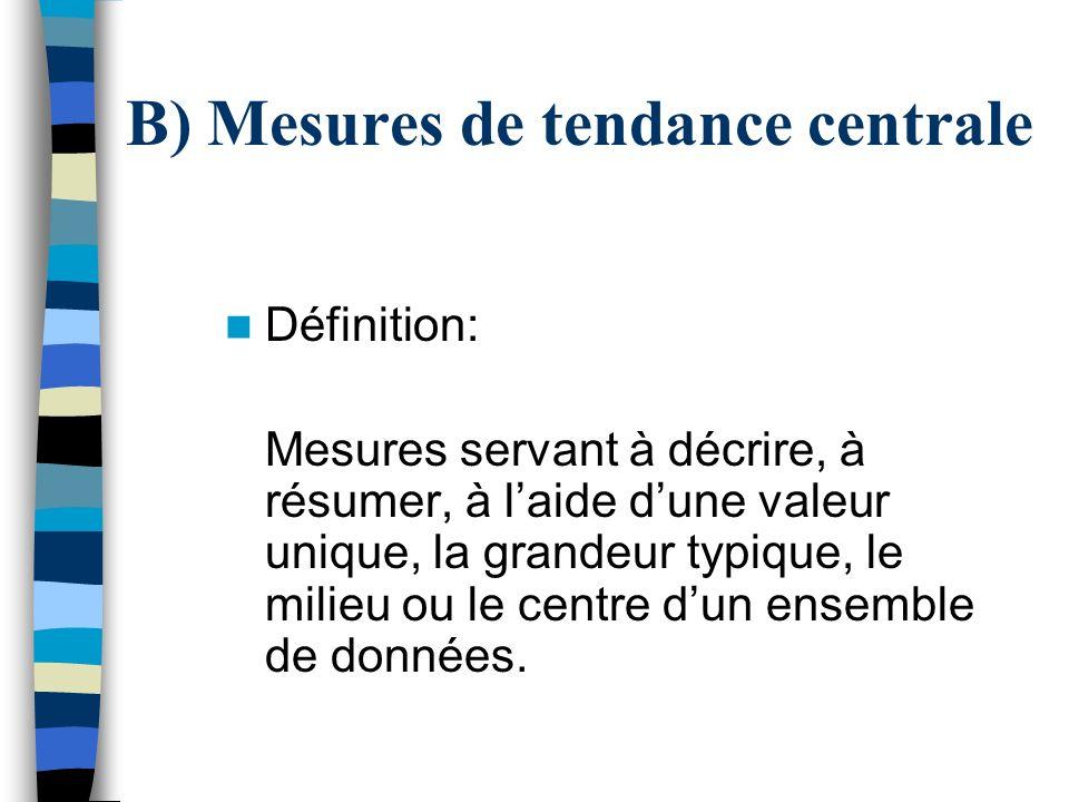 B) Mesures de tendance centrale
