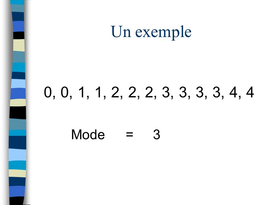Un exemple 0, 0, 1, 1, 2, 2, 2, 3, 3, 3, 3, 4, 4 Mode = 3