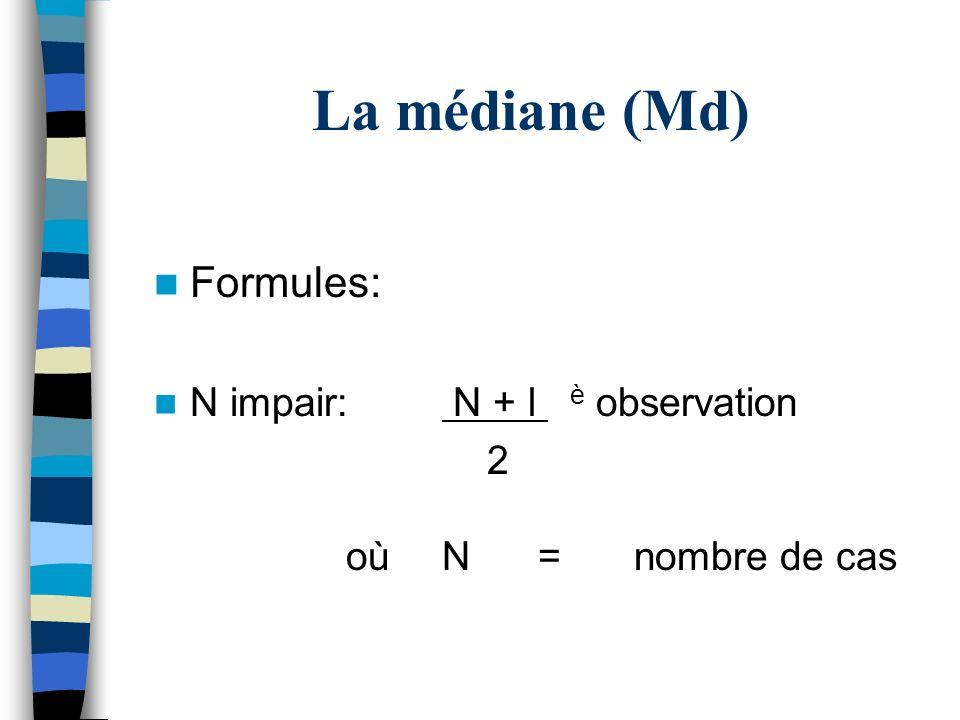 La médiane (Md) Formules: N impair: N + l è observation 2