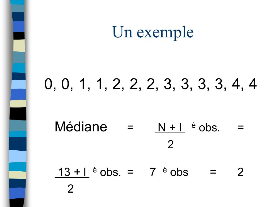 Un exemple 0, 0, 1, 1, 2, 2, 2, 3, 3, 3, 3, 4, 4. Médiane = N + l è obs. = 2.