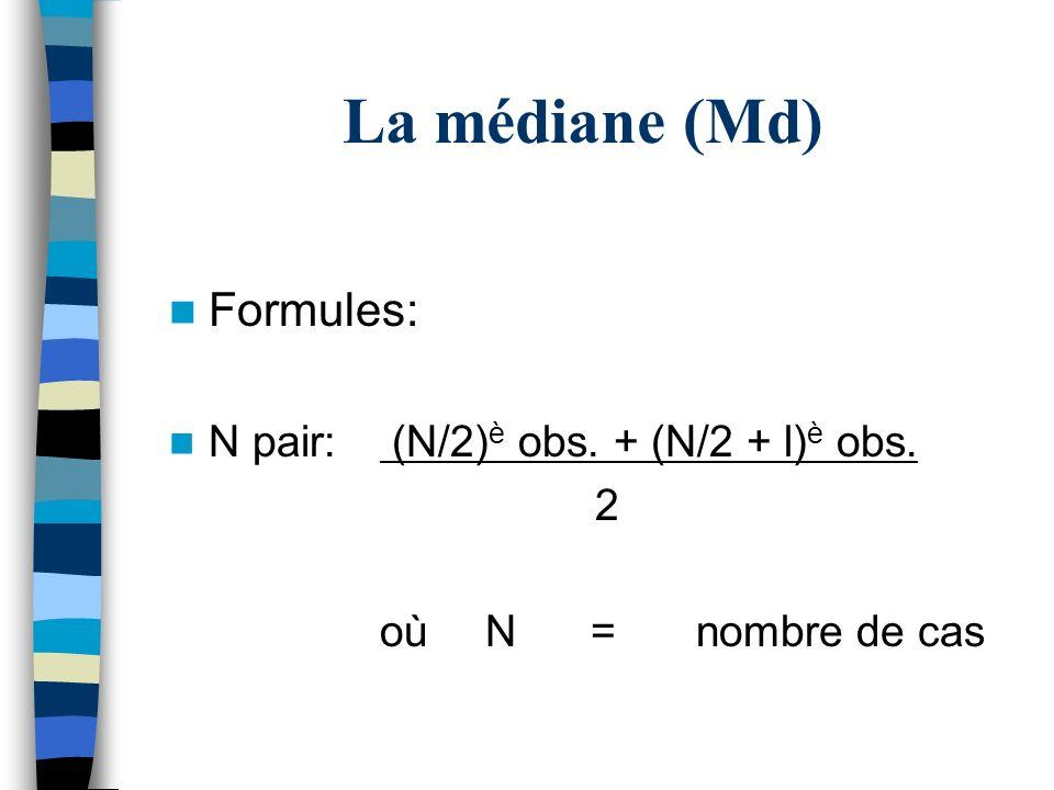 La médiane (Md) Formules: N pair: (N/2)è obs. + (N/2 + l)è obs. 2