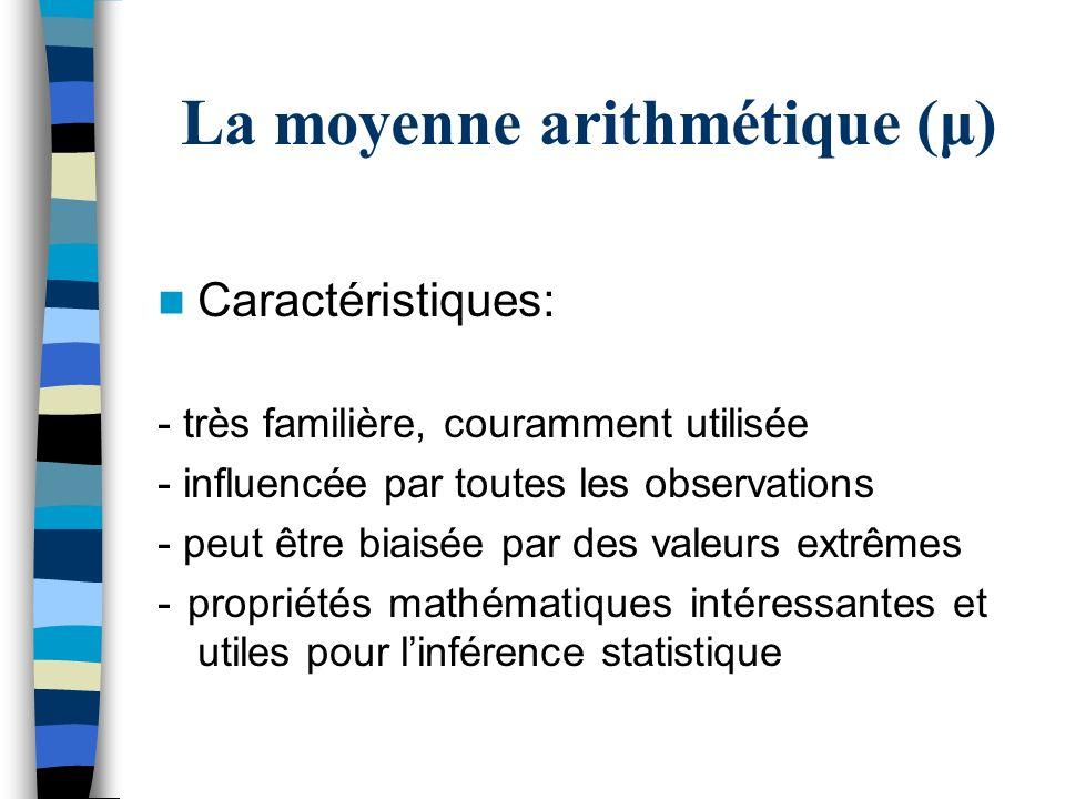 La moyenne arithmétique (μ)