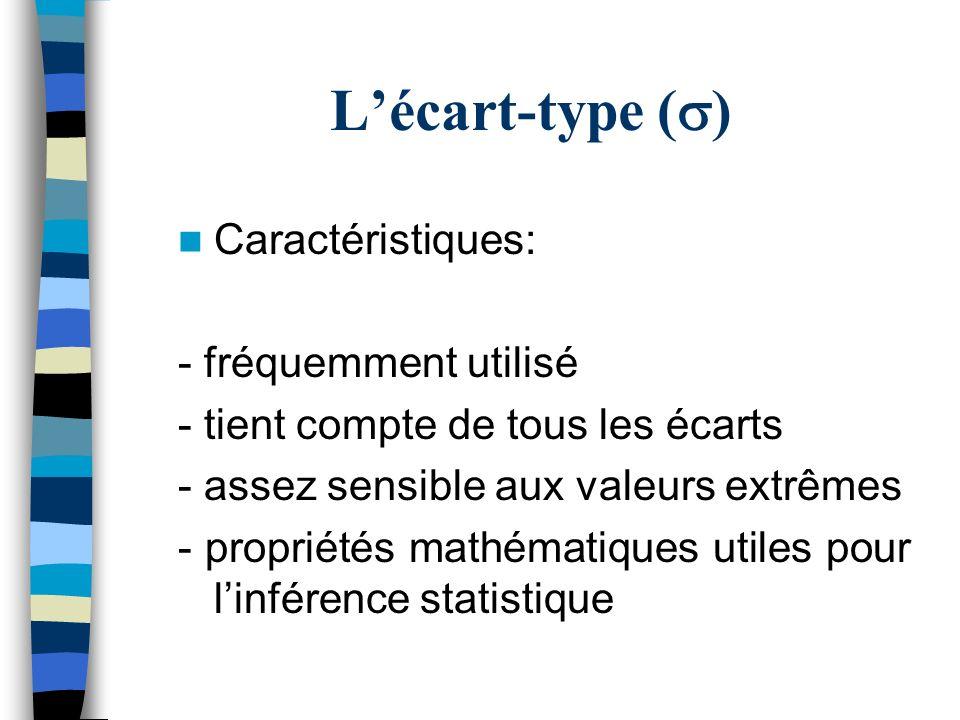 L'écart-type (s) Caractéristiques: - fréquemment utilisé