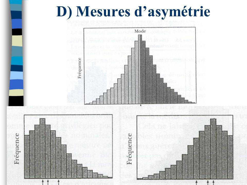 D) Mesures d'asymétrie