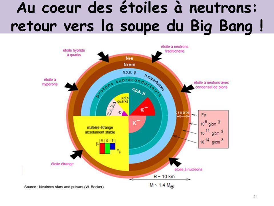 Au coeur des étoiles à neutrons: retour vers la soupe du Big Bang !