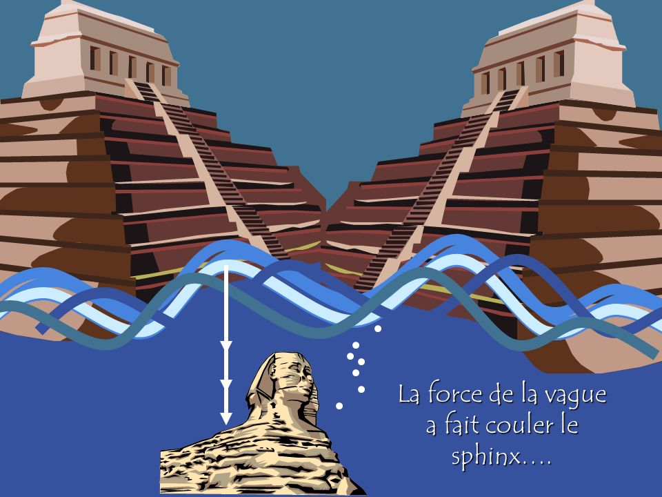 La force de la vague a fait couler le sphinx….
