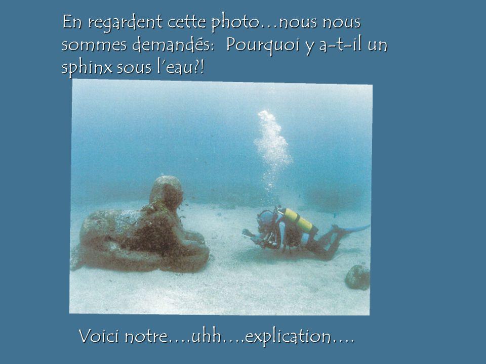 En regardent cette photo…nous nous sommes demandés: Pourquoi y a-t-il un sphinx sous l'eau !