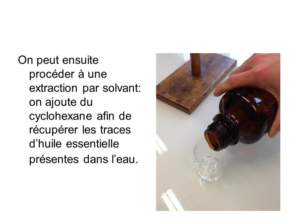 On peut ensuite procéder à une extraction par solvant: on ajoute du cyclohexane afin de récupérer les traces d'huile essentielle présentes dans l'eau.