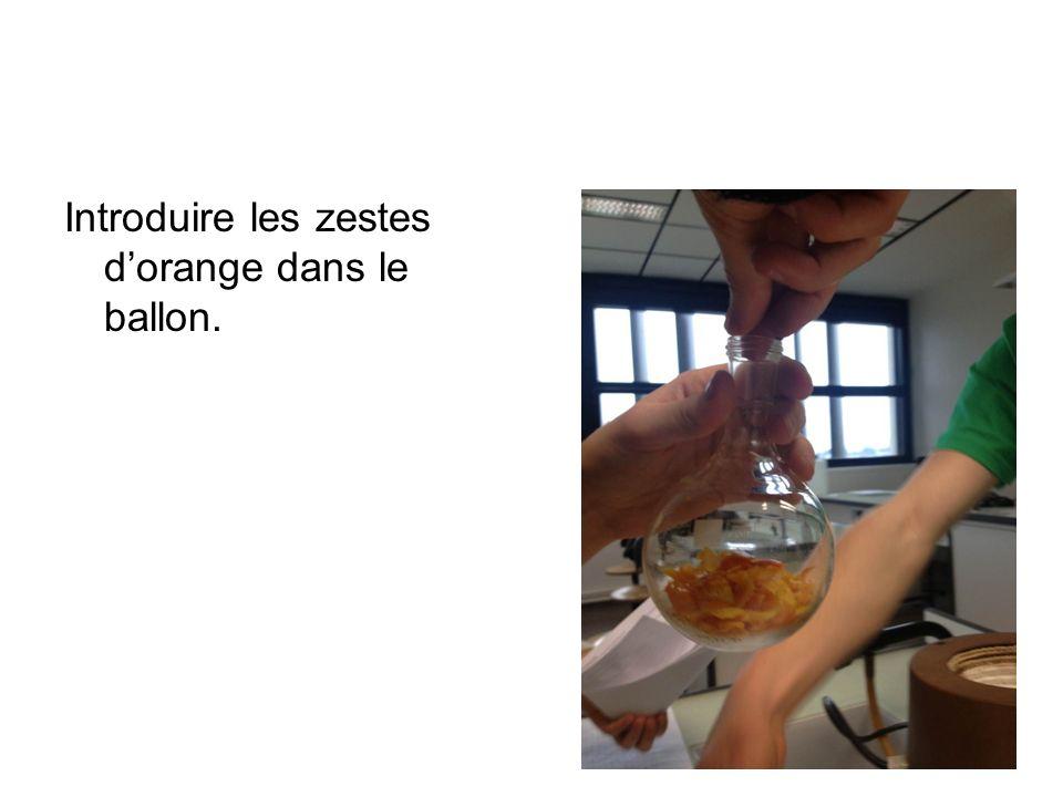 Introduire les zestes d'orange dans le ballon.