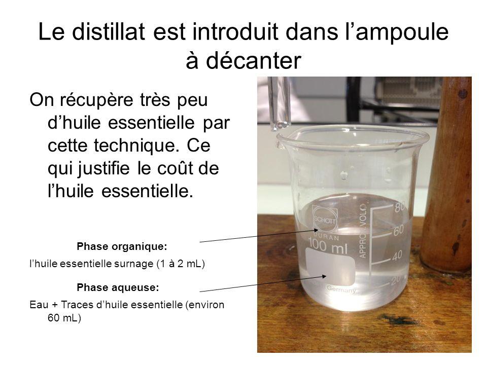 Le distillat est introduit dans l'ampoule à décanter