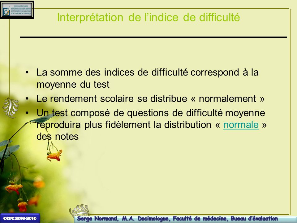 Interprétation de l'indice de difficulté