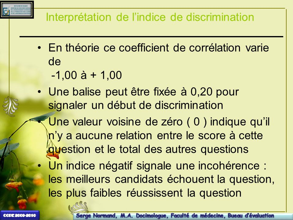 Interprétation de l'indice de discrimination