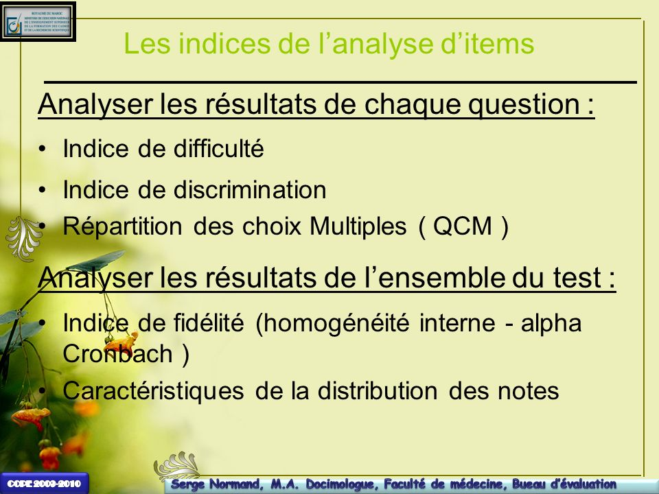 Les indices de l'analyse d'items