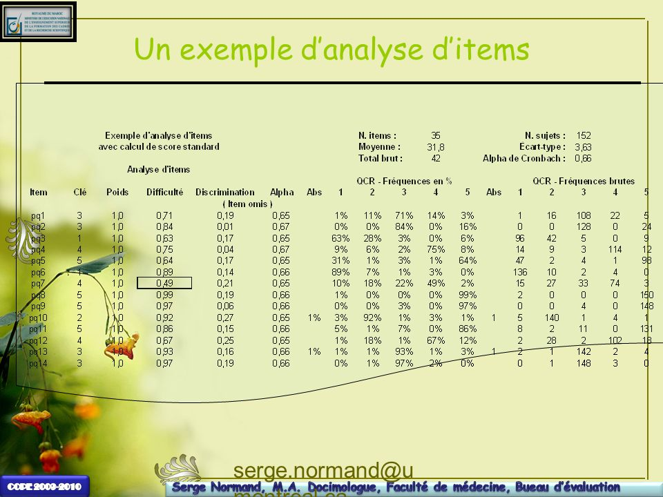 Un exemple d'analyse d'items