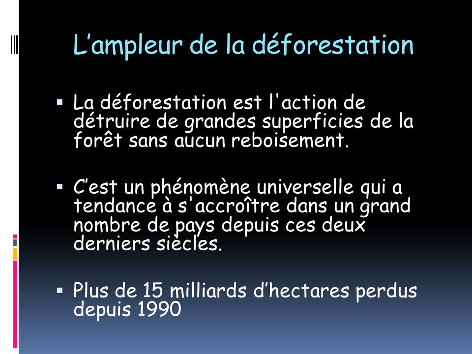 L'ampleur de la déforestation