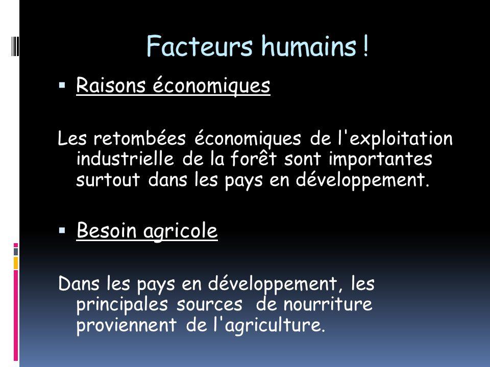 Facteurs humains ! Raisons économiques Besoin agricole