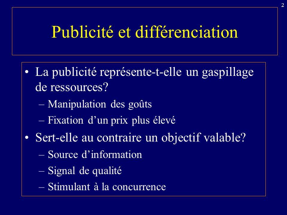 Publicité et différenciation