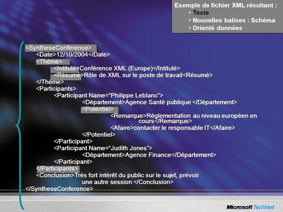 Exemple de fichier XML résultant :