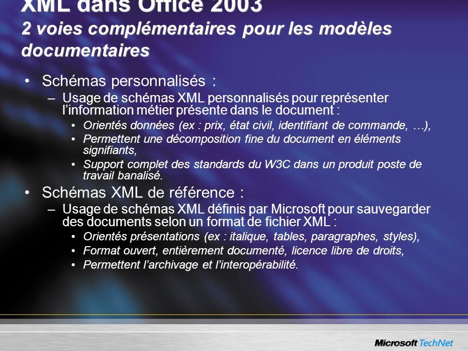 XML dans Office 2003 2 voies complémentaires pour les modèles documentaires