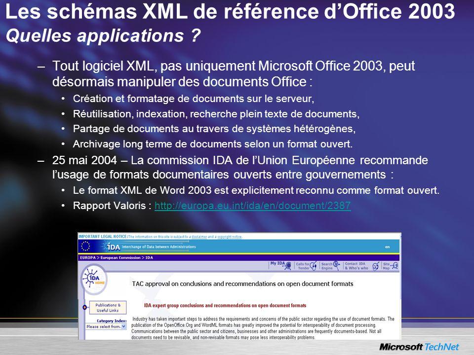 Les schémas XML de référence d'Office 2003 Quelles applications
