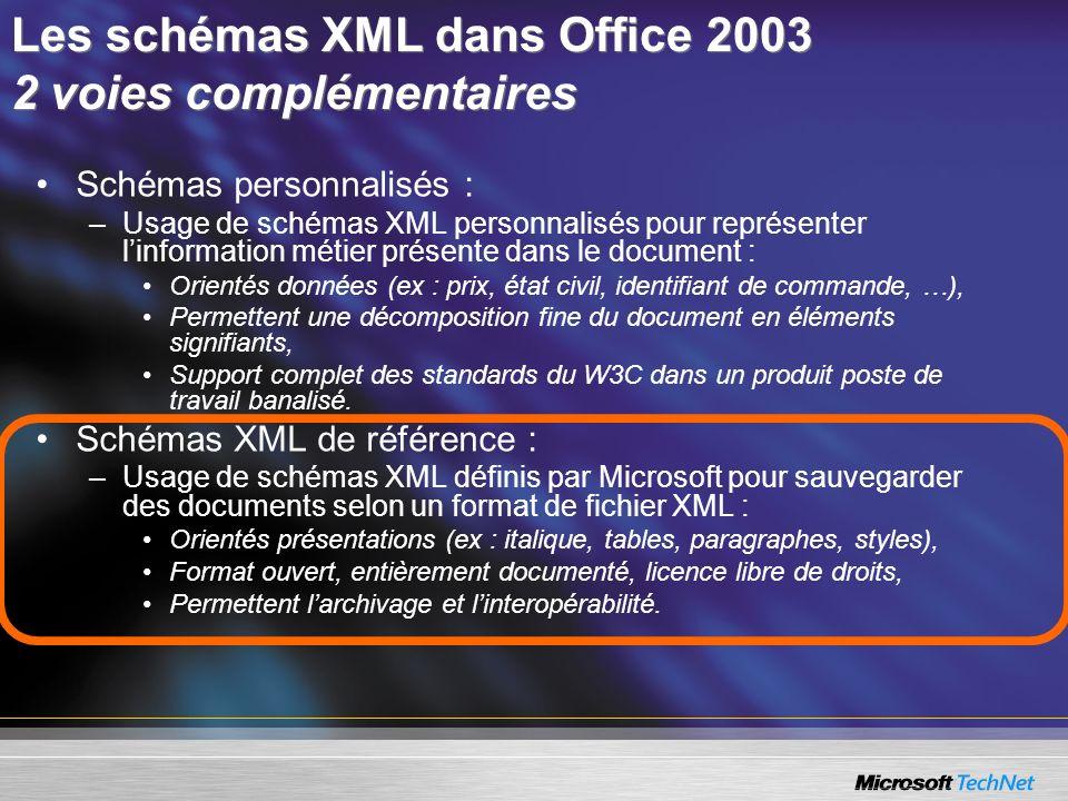 Les schémas XML dans Office 2003 2 voies complémentaires