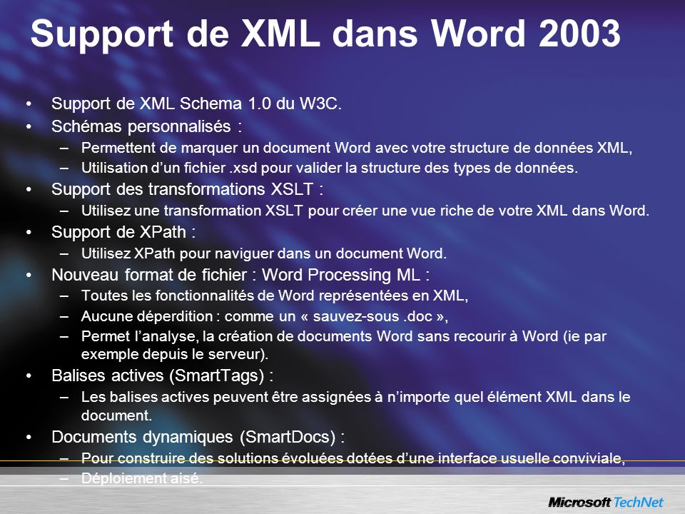 Support de XML dans Word 2003
