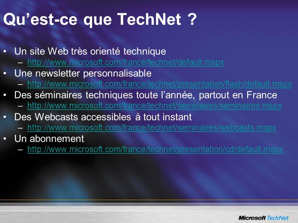 Qu'est-ce que TechNet Un site Web très orienté technique