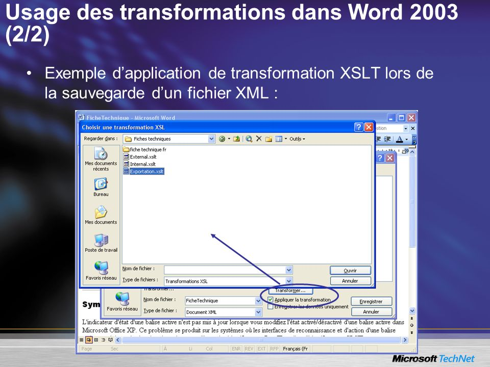 Usage des transformations dans Word 2003 (2/2)