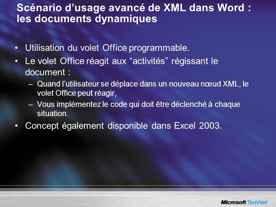 Scénario d'usage avancé de XML dans Word : les documents dynamiques