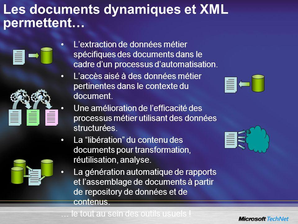 Les documents dynamiques et XML permettent…