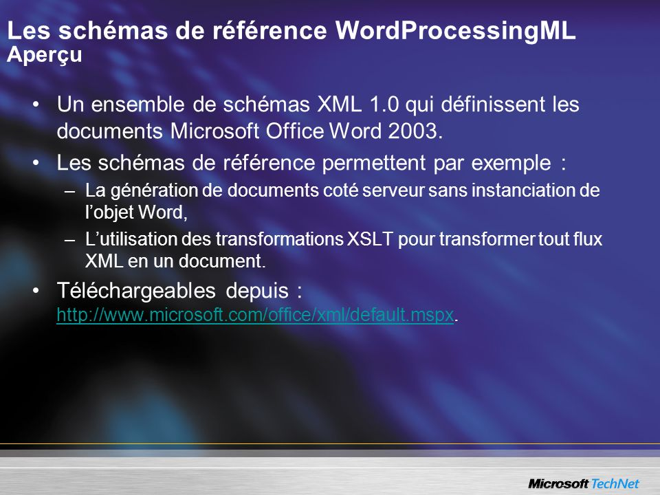 Les schémas de référence WordProcessingML Aperçu