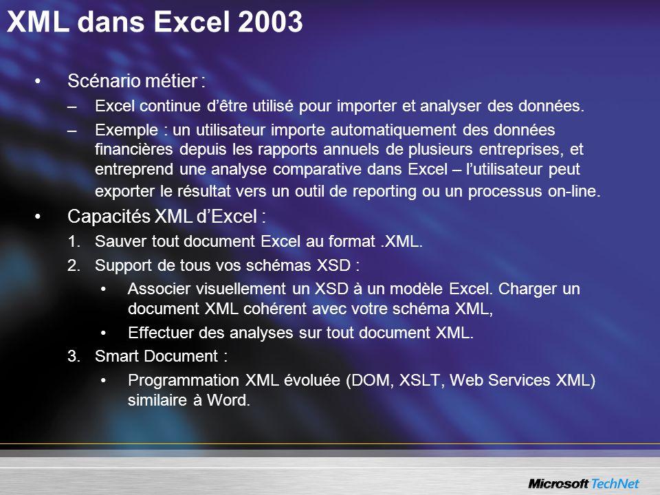 XML dans Excel 2003 Scénario métier : Capacités XML d'Excel :