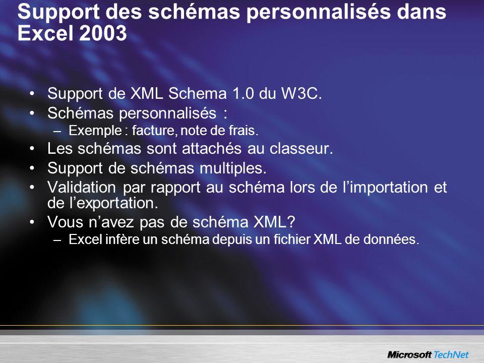 Support des schémas personnalisés dans Excel 2003