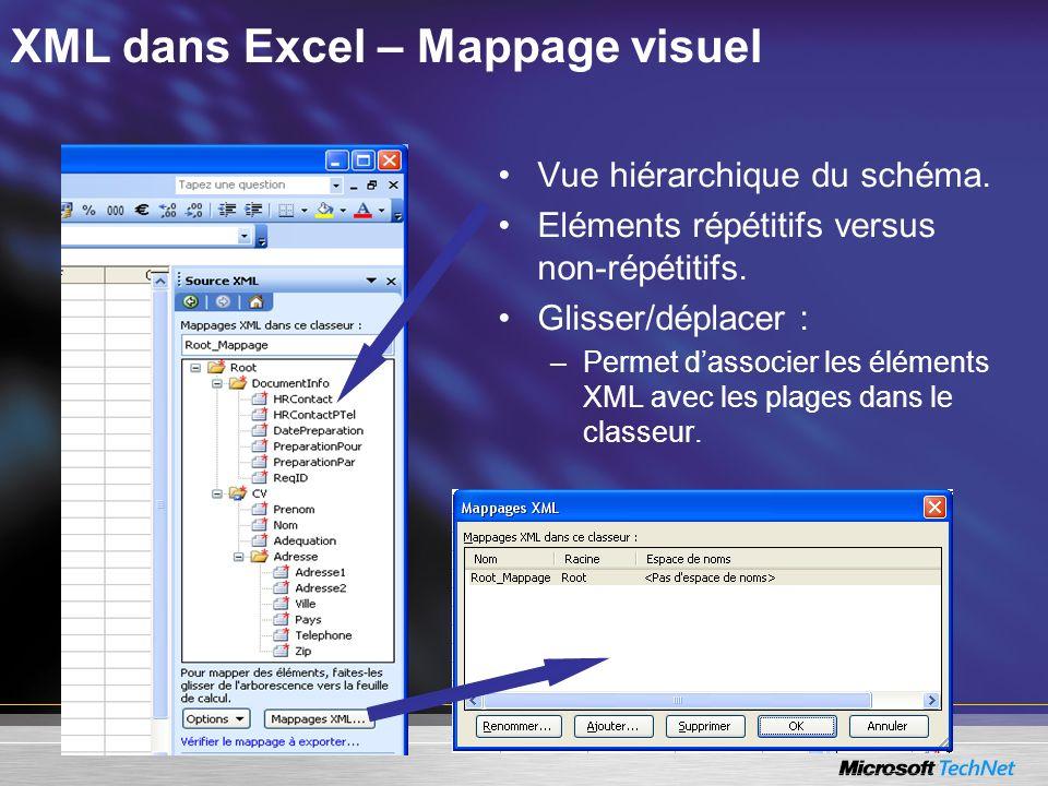 XML dans Excel – Mappage visuel