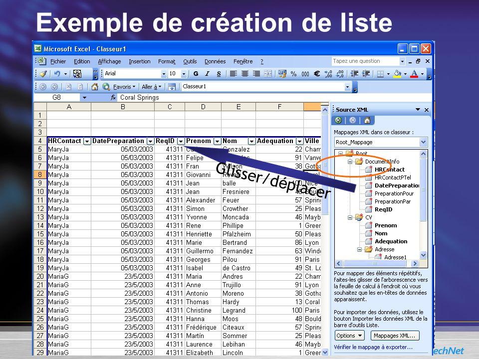 Exemple de création de liste
