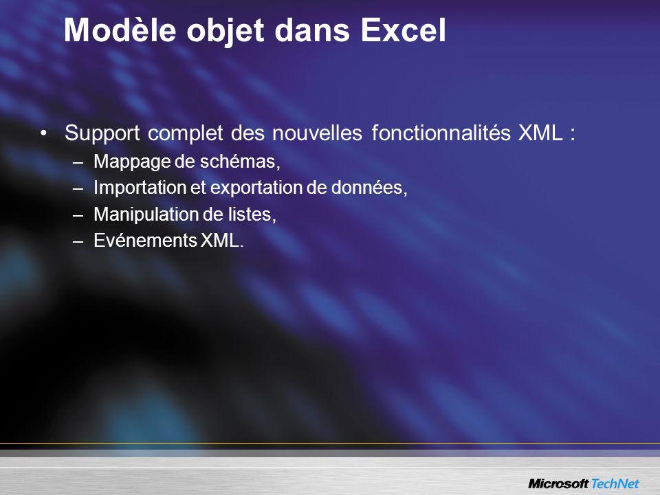 Modèle objet dans Excel
