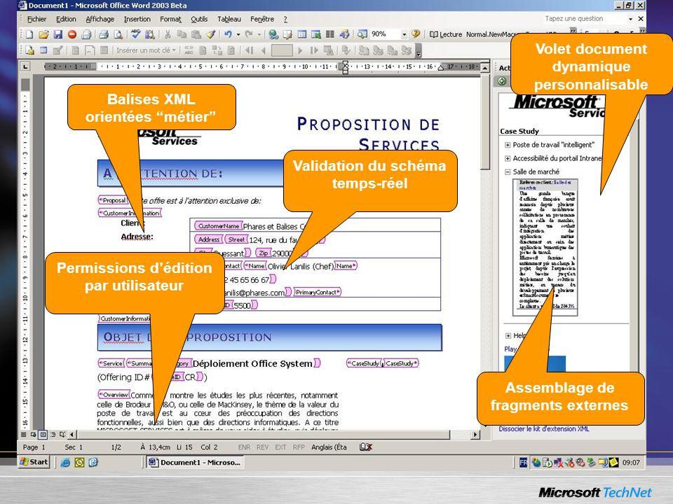 Volet document dynamique personnalisable