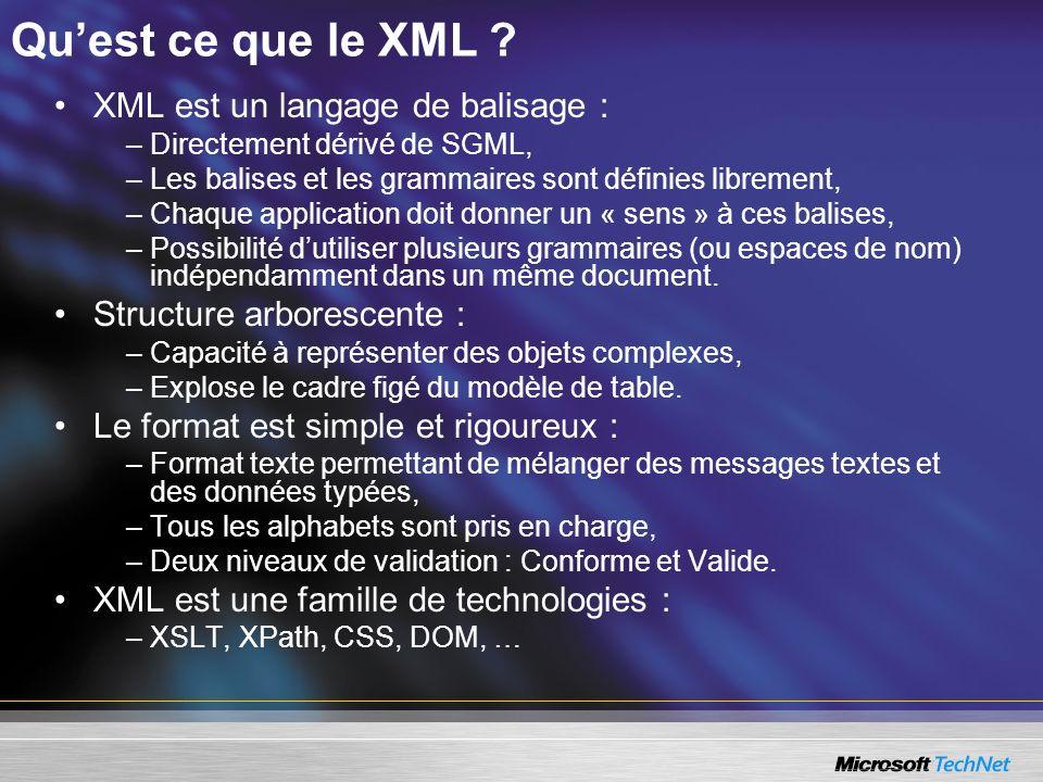 Qu'est ce que le XML XML est un langage de balisage :
