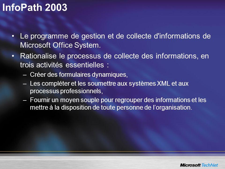 InfoPath 2003Le programme de gestion et de collecte d informations de Microsoft Office System.
