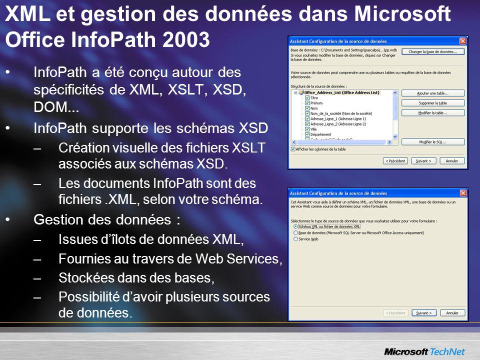 XML et gestion des données dans Microsoft Office InfoPath 2003