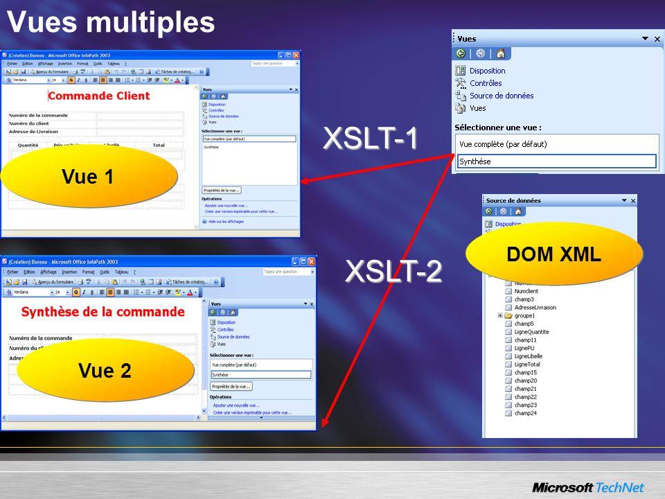 Vues multiples XSLT-1 Vue 1 DOM XML XSLT-2 Vue 2