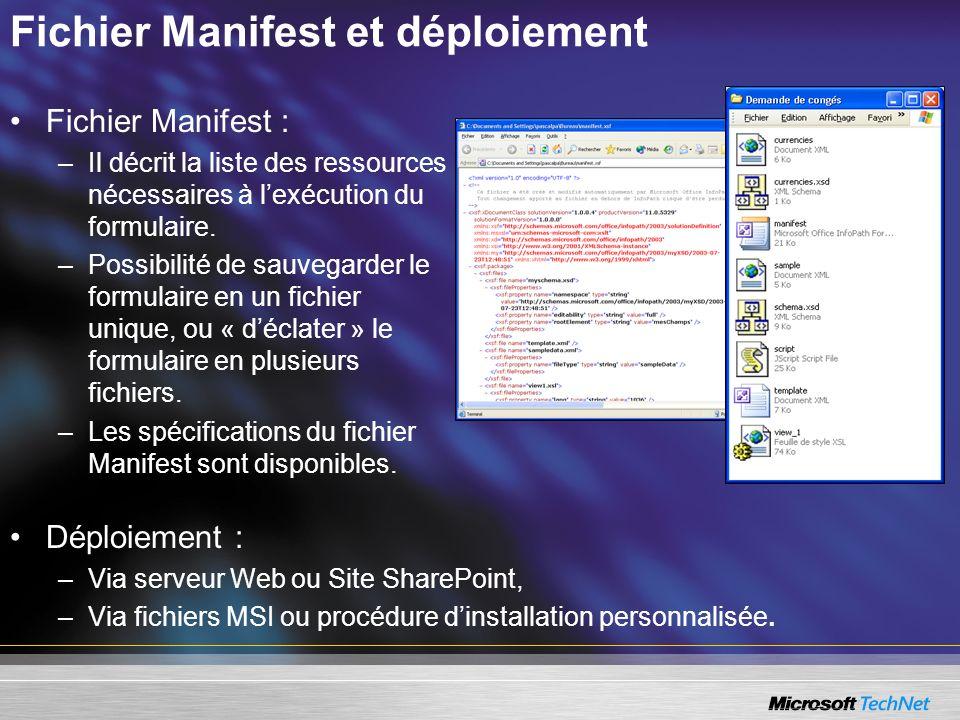 Fichier Manifest et déploiement