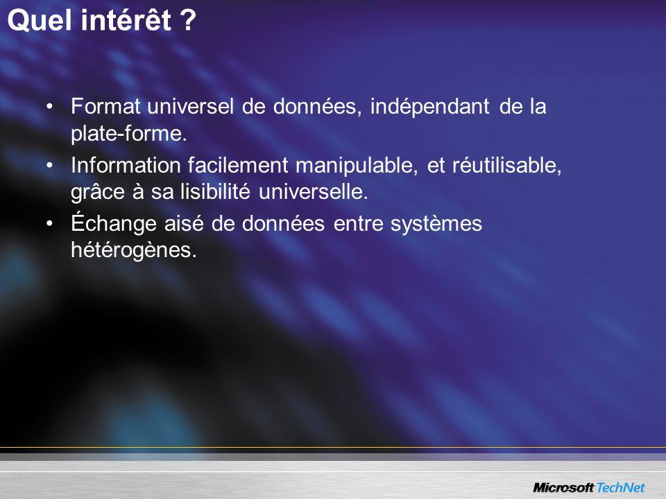 Quel intérêt Format universel de données, indépendant de la plate-forme.