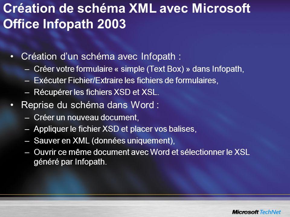 Création de schéma XML avec Microsoft Office Infopath 2003