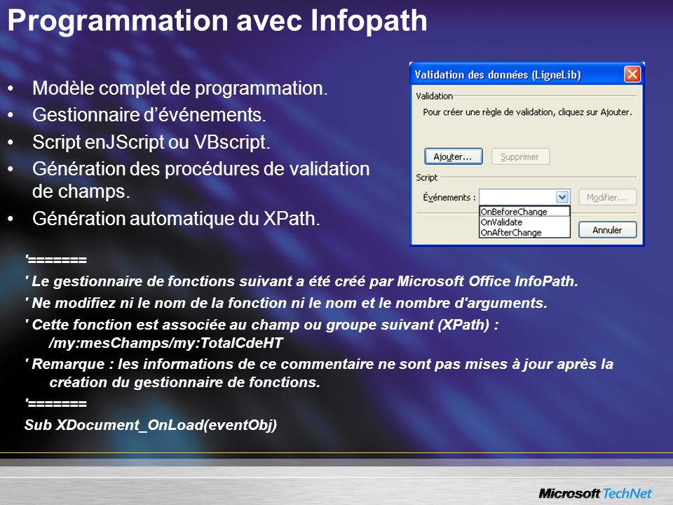 Programmation avec Infopath